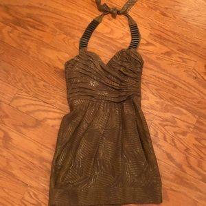 Bebe foliage halter dress size XXS NWOT